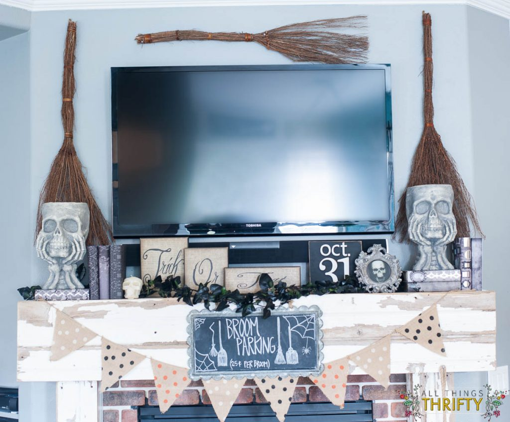 Halloween Mantle Ideas Witches Broom Parking
