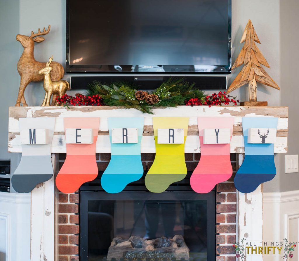 Christmas Mantle with Colorful DIY Stockings