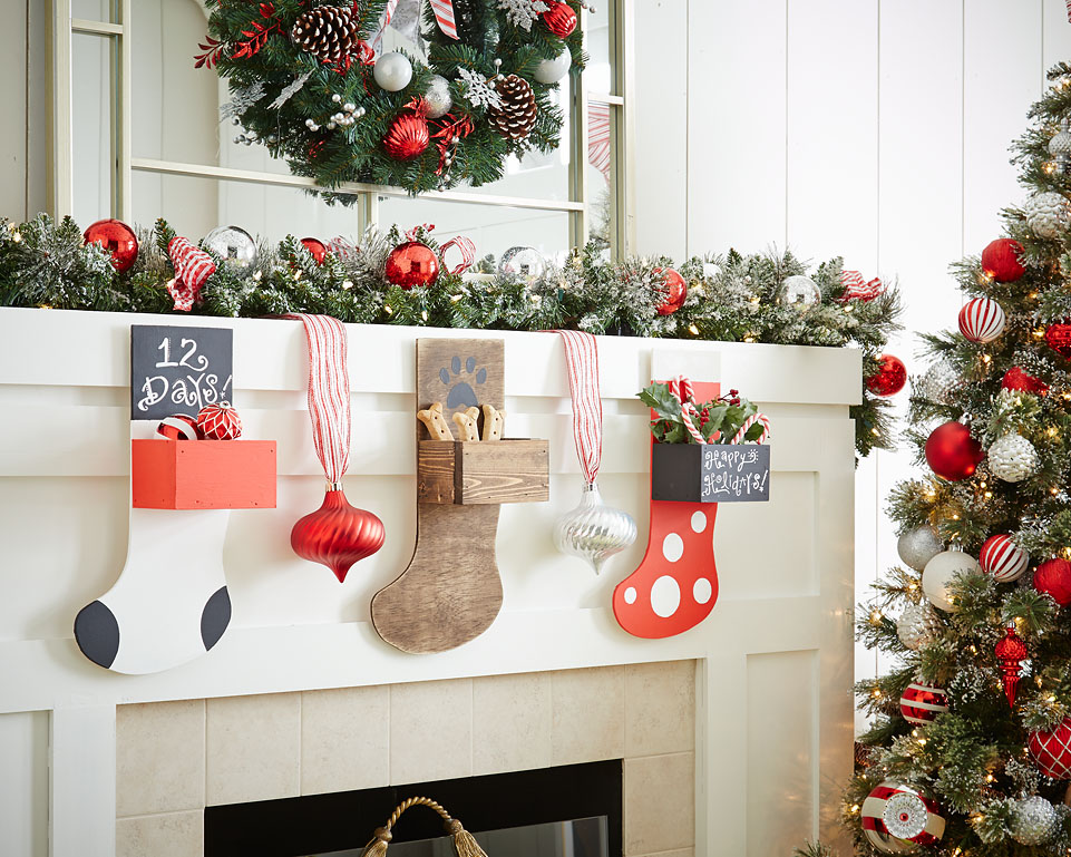 Colorful ombre christmas stockings diy wooden pattern