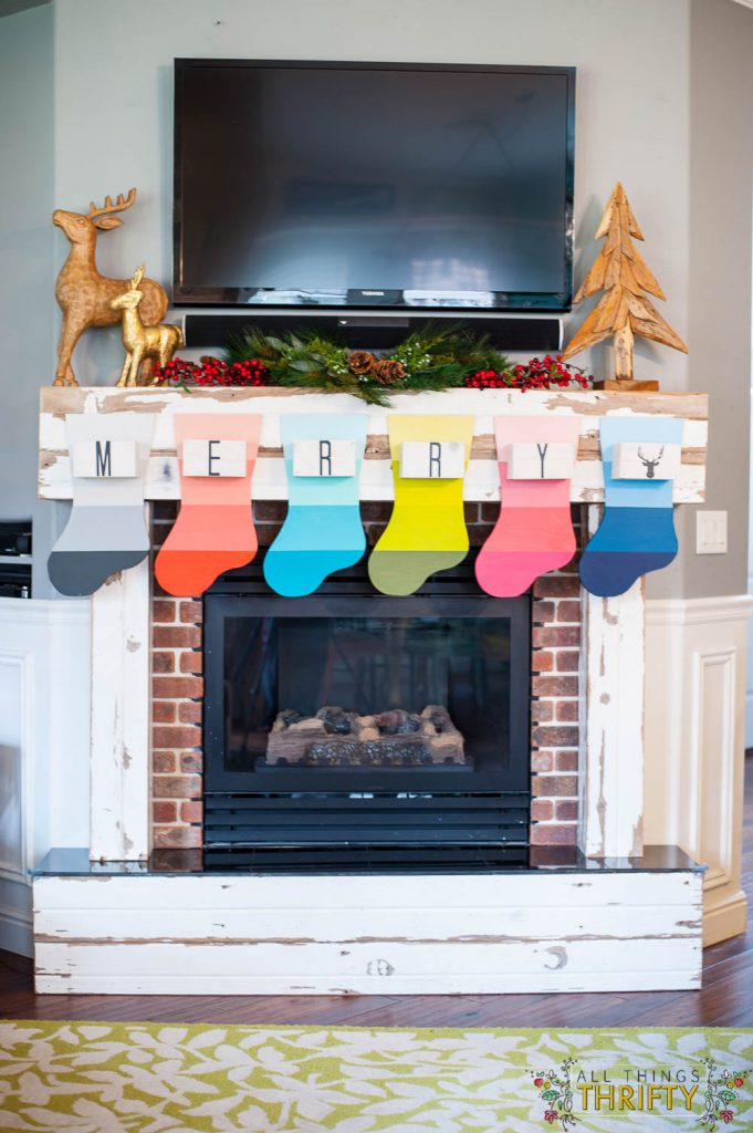 Wooden Stocking project Colorful Christmas Mantle