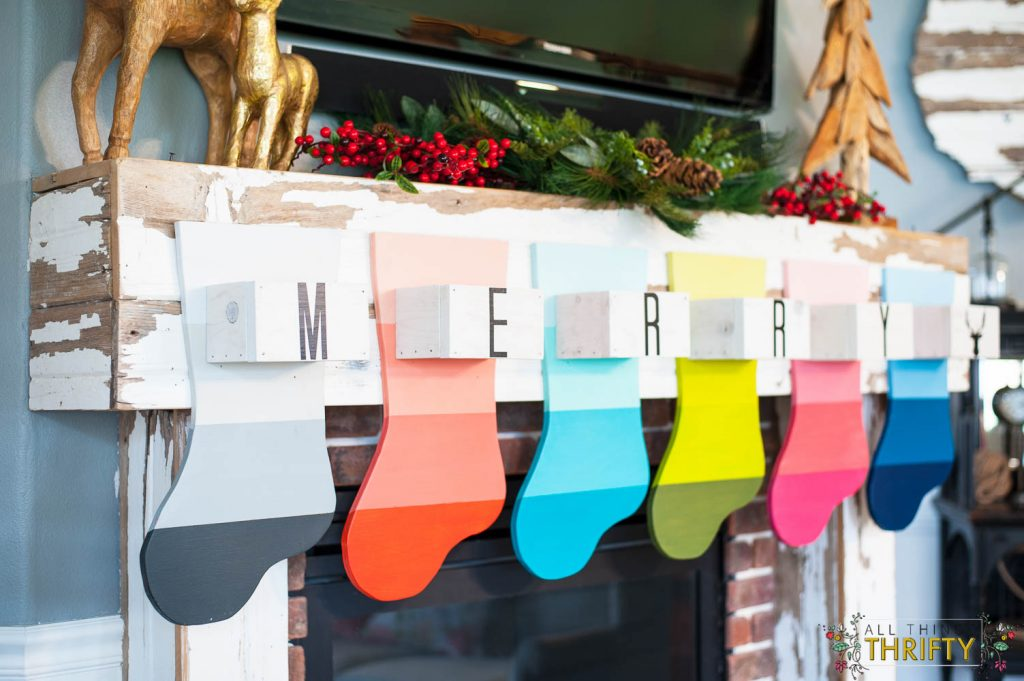 Wooden Stockings Hanging on the Mantle