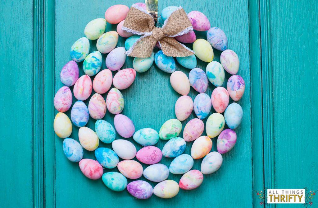 DIY Easter Egg Marblized Wreath
