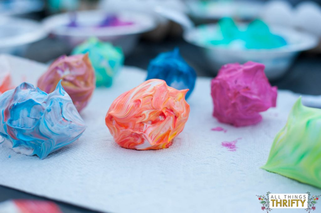 dying easter eggs with shaving cream