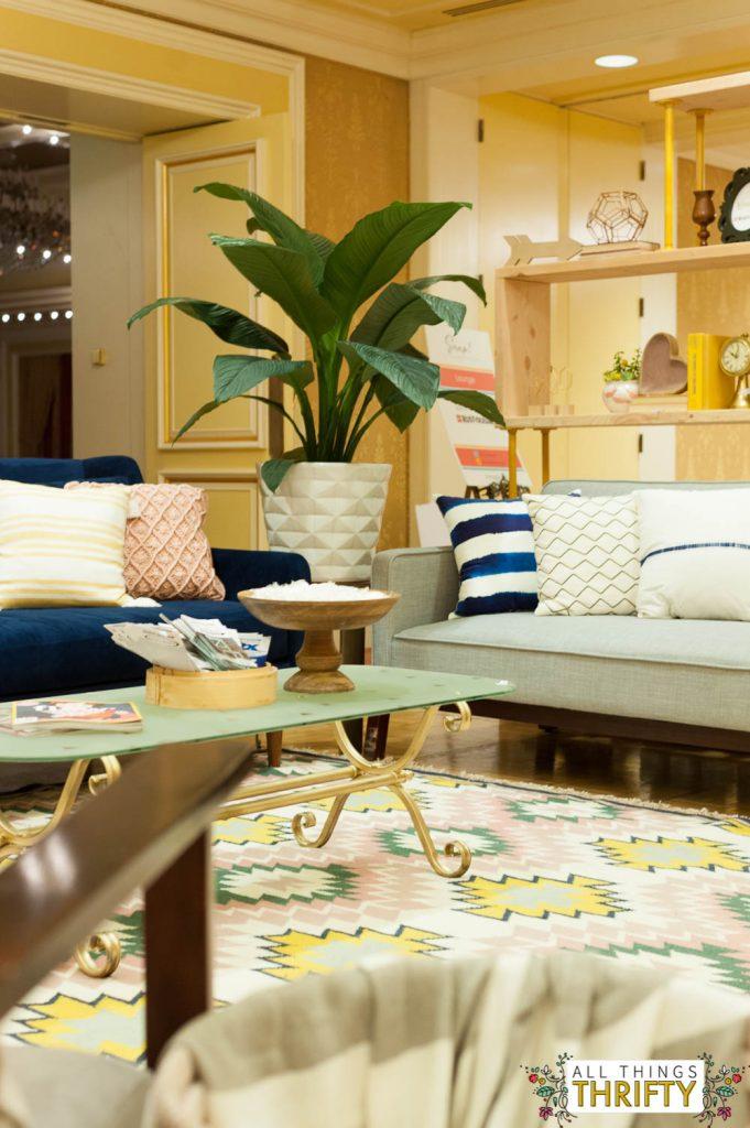 Blush, Navy, Yellow Living Room LOVE-34