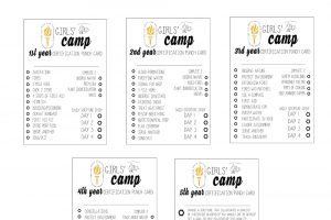 New Girls' Camp Certification Punch Cards FREE