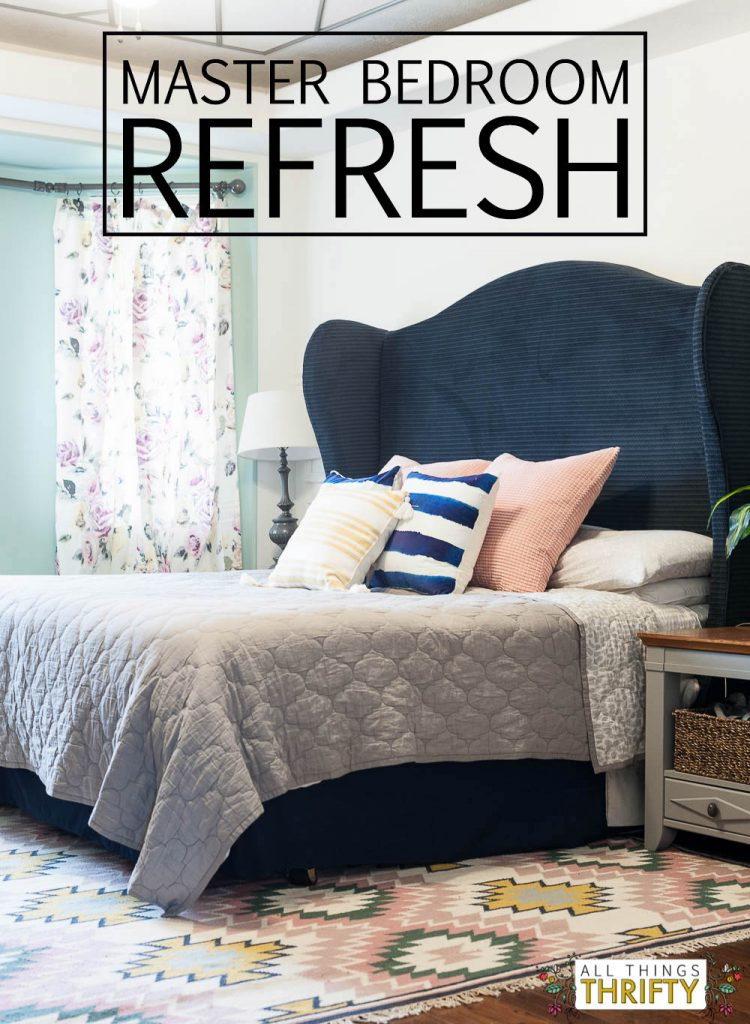 Navy Blush Yellow And Green Master Bedroom Refresh All Things Thrifty