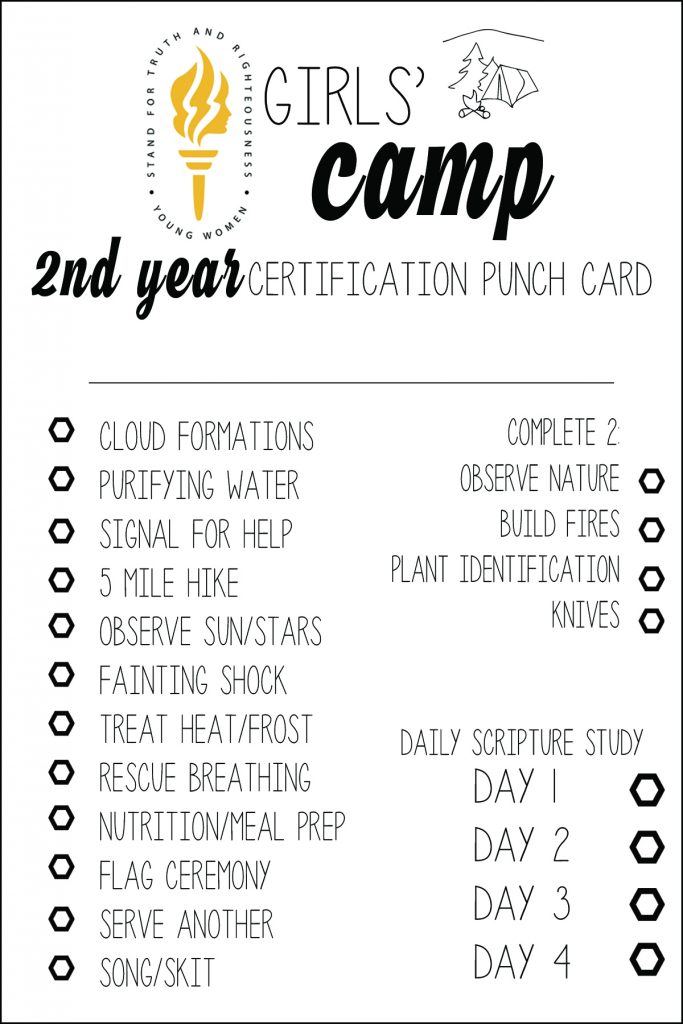 Amazing LDS Girls u Camp Certification Punch Cards Free Printables All Things Thrifty