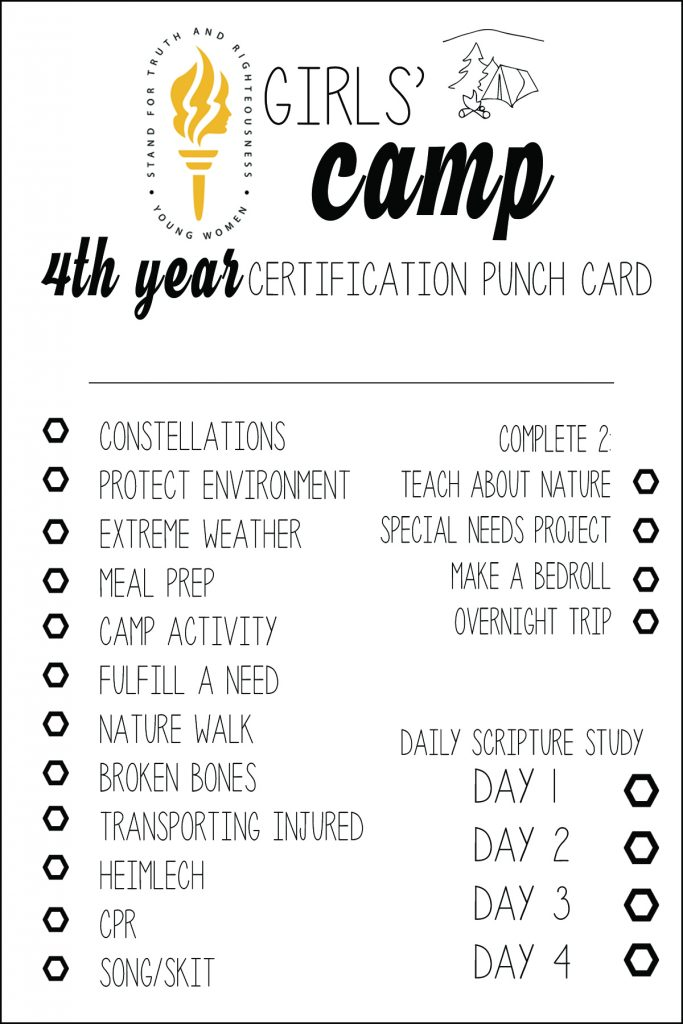 Lds girls camp certification punch cards free printables all lds girls camp certification punch cards free printables all things thrifty xflitez Image collections
