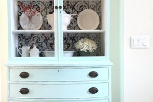 "Antique Hutch Makeover with Fabric ""Wallpaper"" Back"