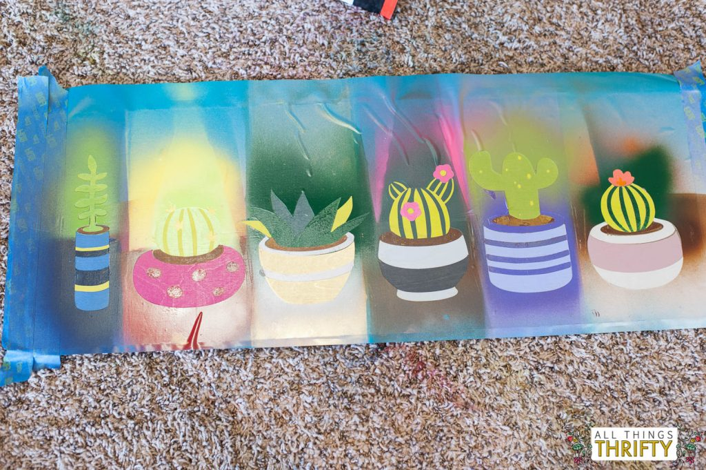 Cacti picture with spray paint and vinyl