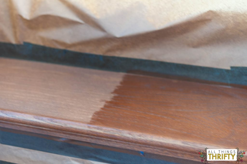 Staining stair treads
