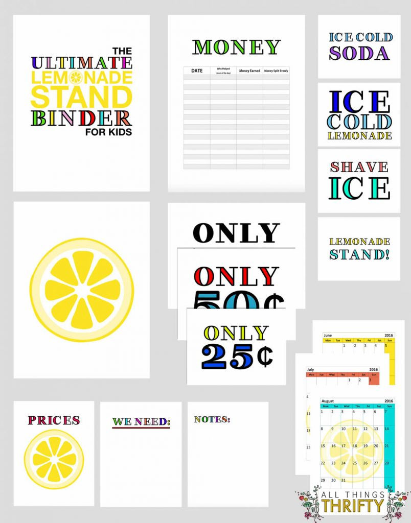 FREE lemonade stand binder for kis-1