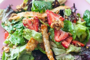 Strawberry Spinach Salad with Bacon, Sugared Almonds, and Wontons