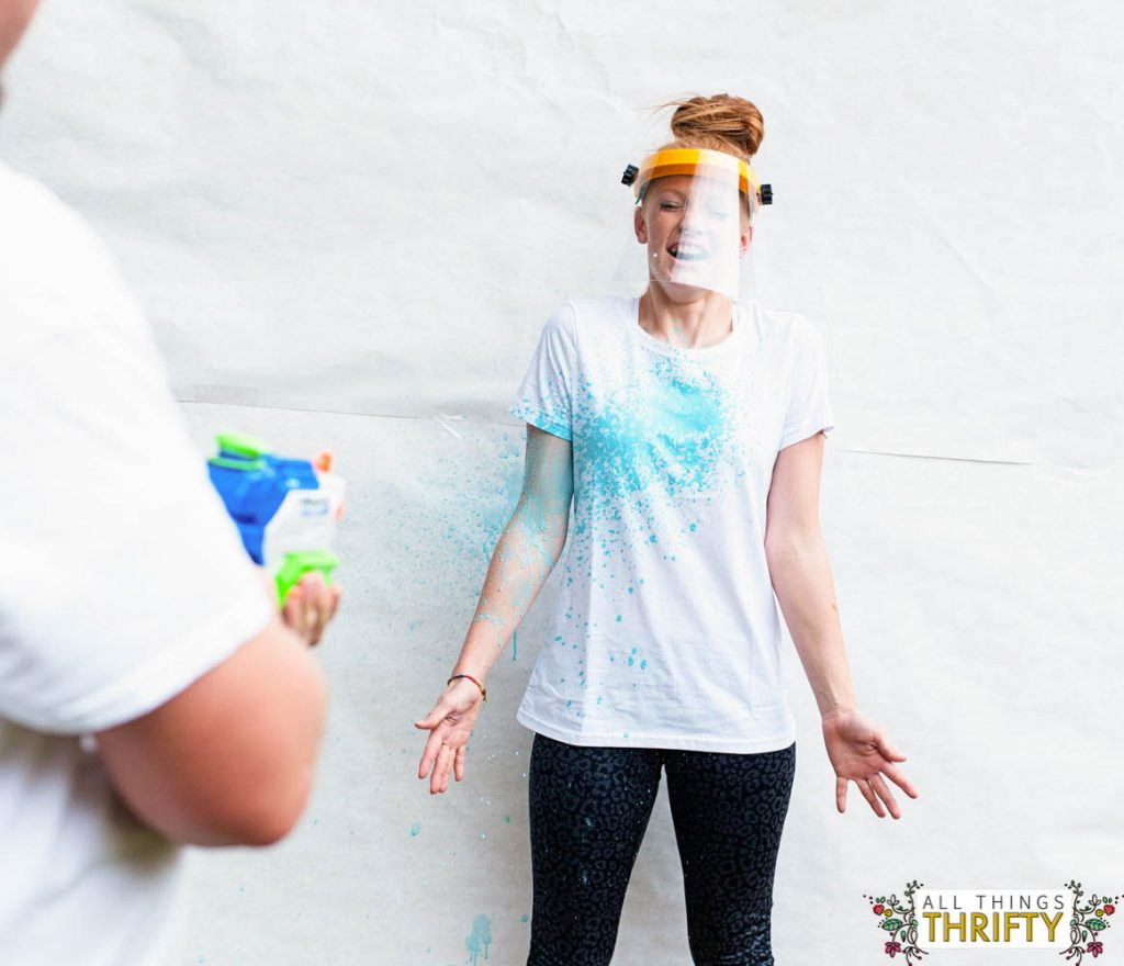 Painting T Shirts With Squirt Guns Kids Craft Idea All Things Thrifty