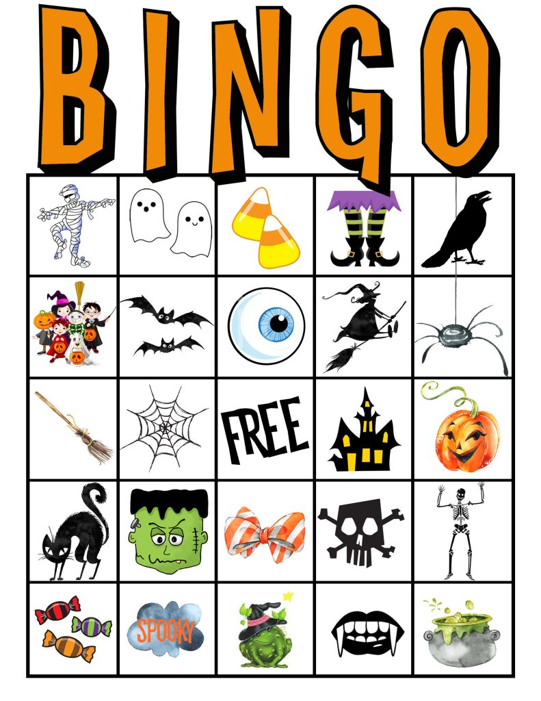 graphic regarding Printable Halloween Bingo Card called Youngsters Halloween Get together BINGO Playing cards Absolutely free PRINTABLE All Components