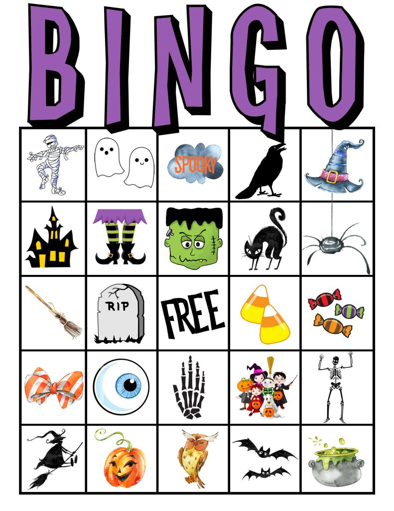 Invaluable image within halloween bingo free printable