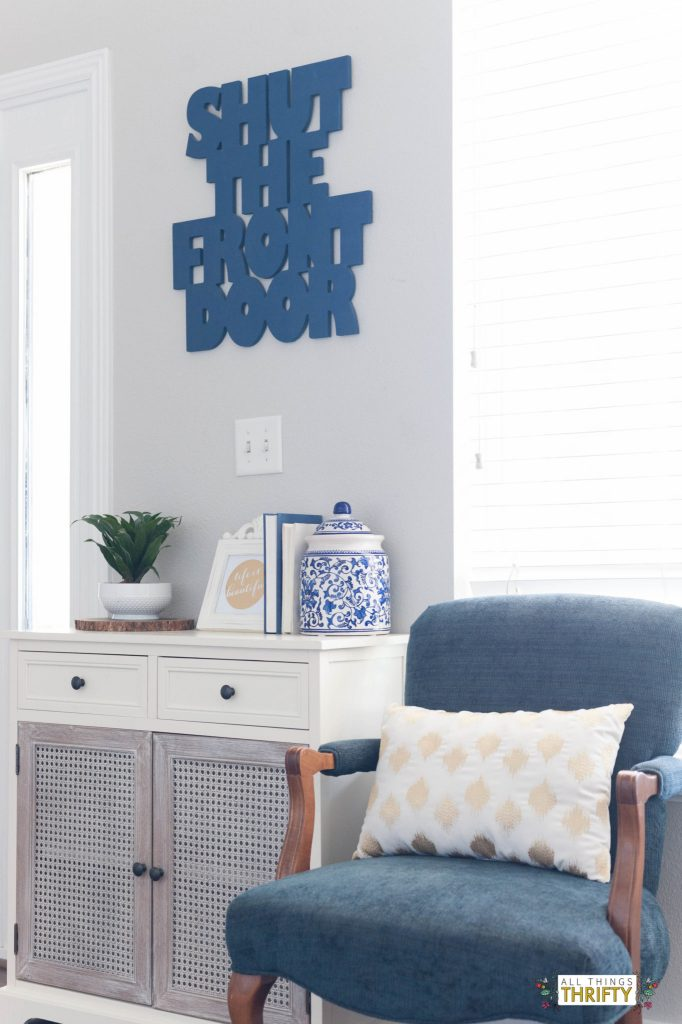 jo's living room: navy, pink, gold, grey, and white! | all things