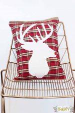 Adorable DIY plaid and burlap Christmas Pillow