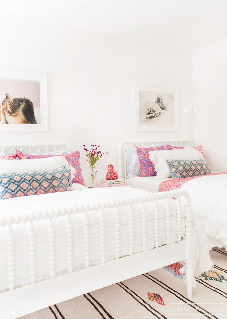 Girl's White and Colorful Bedroom