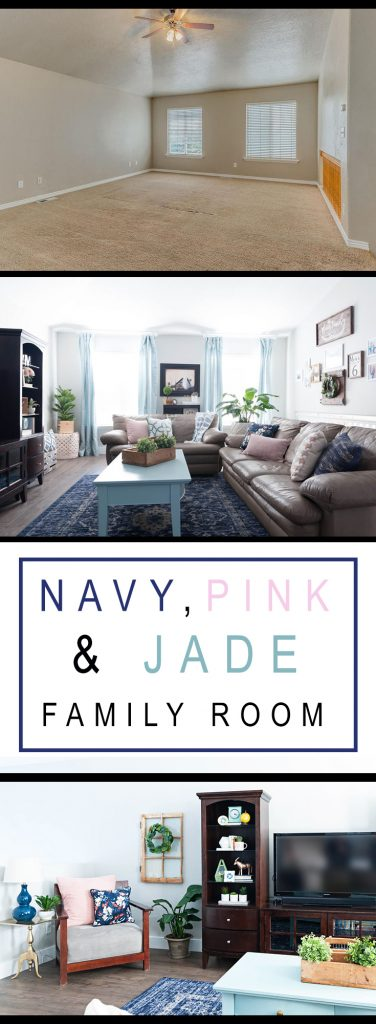 Navy Pink and Jade Family Room