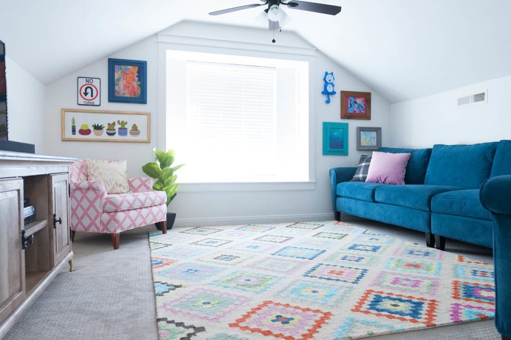 Kids multi-colored play room ideas with slanted ceiling