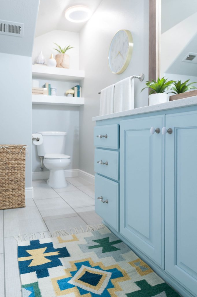 Superb Kids u Bathroom remodel with pops of light turquoise yellow and green All Things Thrifty