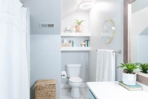 Kids' Bathroom remodel with pops of light turquoise, yellow, and green