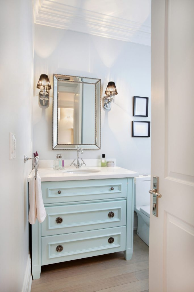 Beautiful Kids u Bathroom remodel with pops of light turquoise yellow and green All Things Thrifty