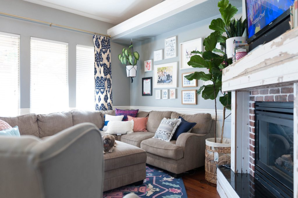 Quick living room update color switch for less than 600 - Blue and pink living room ideas ...