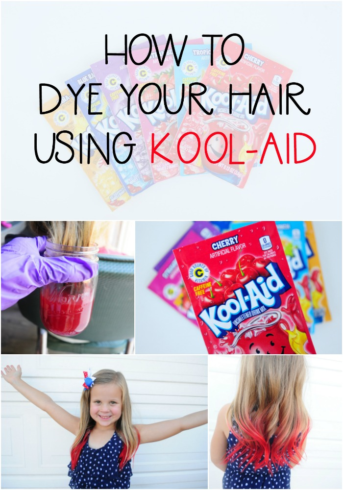 how to dye your hair using kool aid Collage