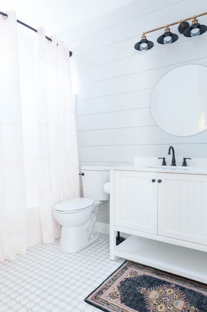 Grey and White Bathroom Renovation with Hex Tile and Shiplap-31