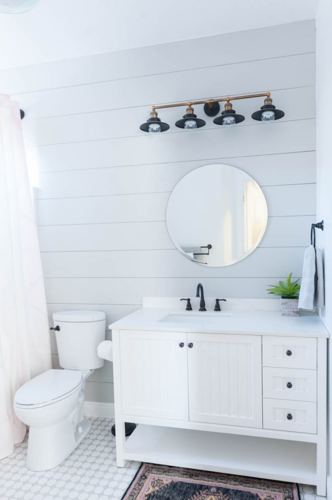 Grey and White Bathroom Renovation with Hex Tile and Shiplap-34