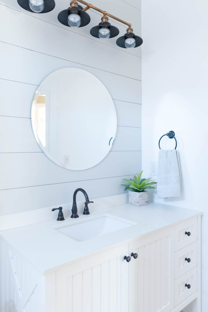 grey and white bathroom renovation reveal all things thrifty rh allthingsthrifty com Black and Grey Bathroom Tile DIY Bathroom Renovations