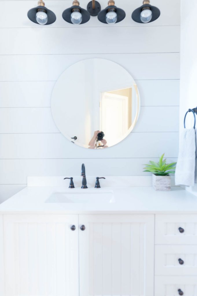Grey and White Bathroom Renovation with Hex Tile and Shiplap-8
