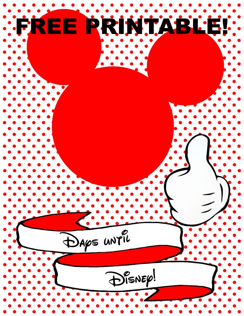 image relating to Disney Countdown Printable known as Giveaway All Factors Thrifty