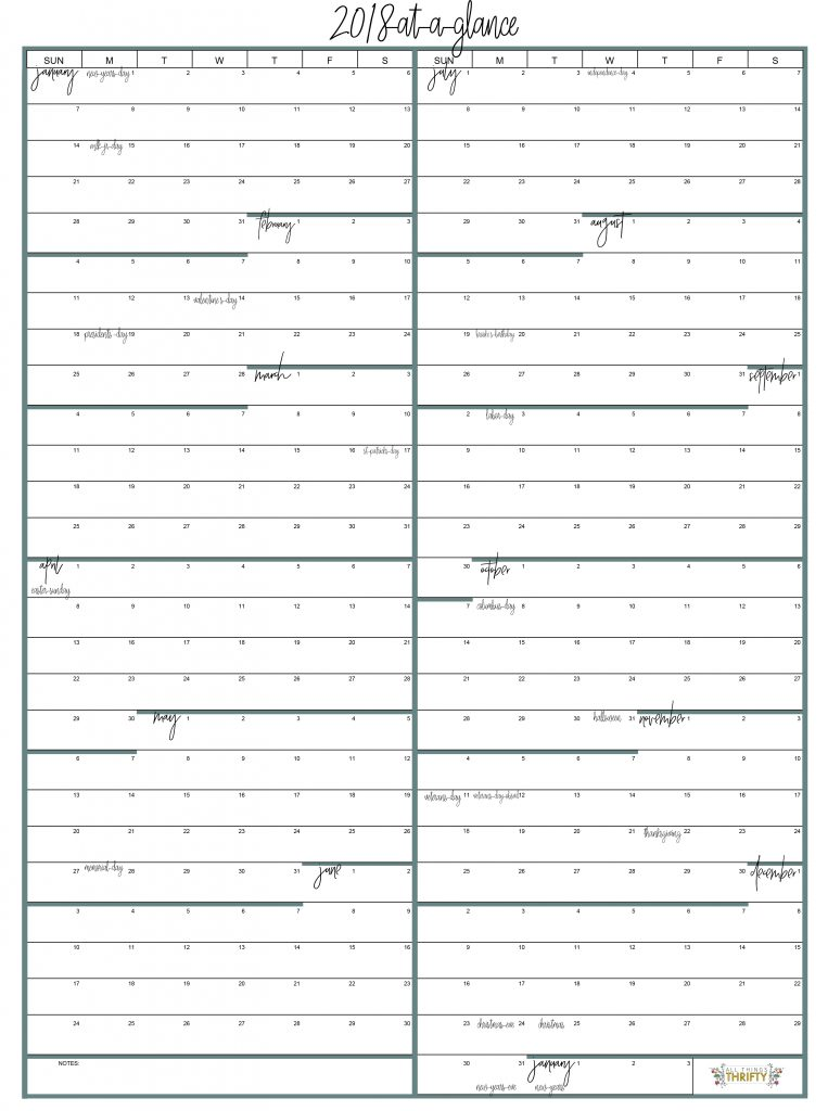 year at a glance free printable calendar all things thrifty
