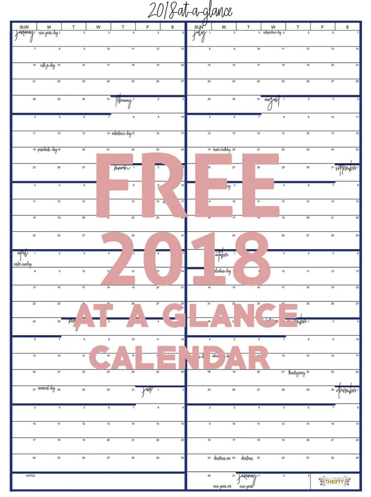 Year at a glance free printable calendar all things thrifty for Day at a glance calendar template