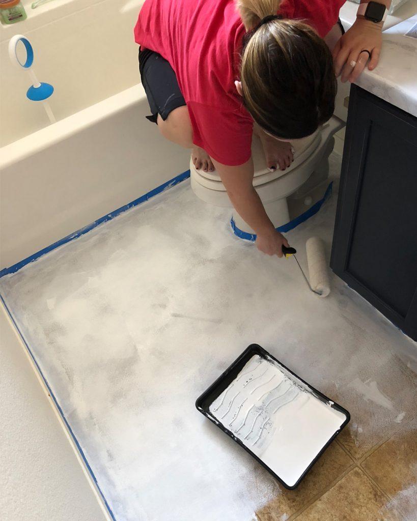 Bathroom Makeover Phase 2 Chalk Painted Linoleum Floors All
