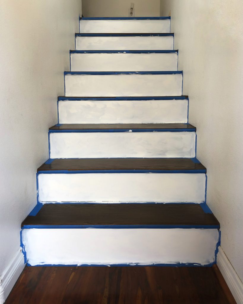 How To Update Wood Stairs With Chalk Paint All Things Thrifty