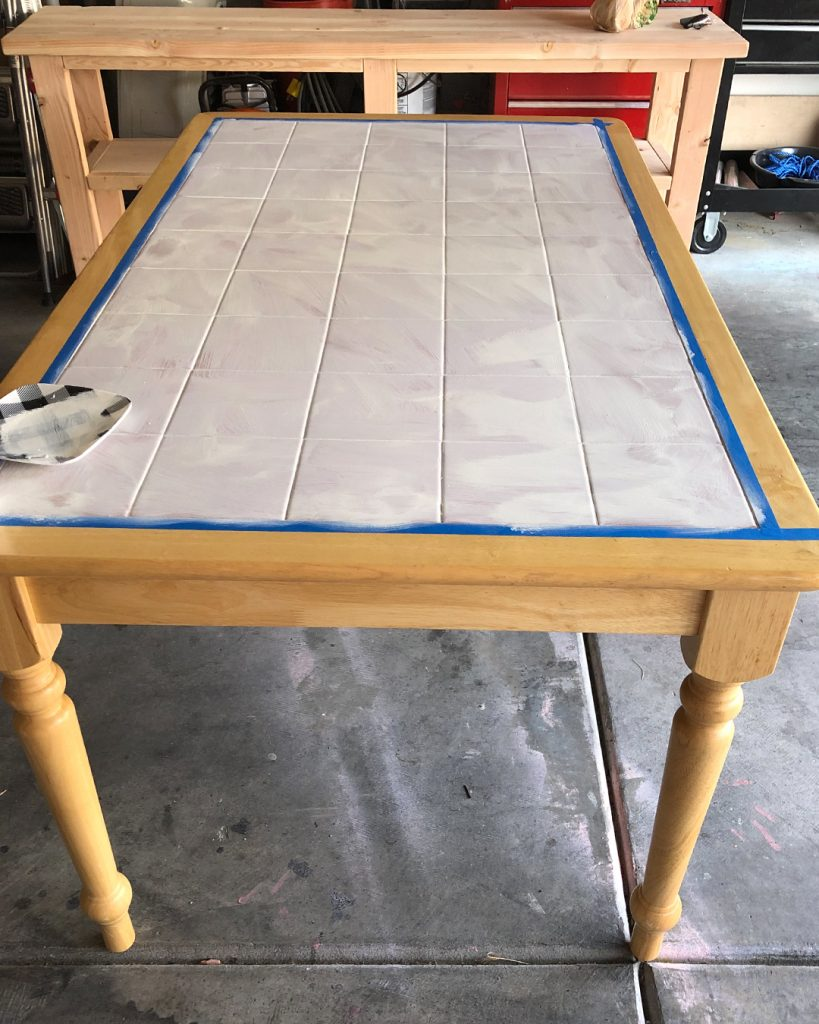 How To Paint A Dated Tile Table All Things Thrifty