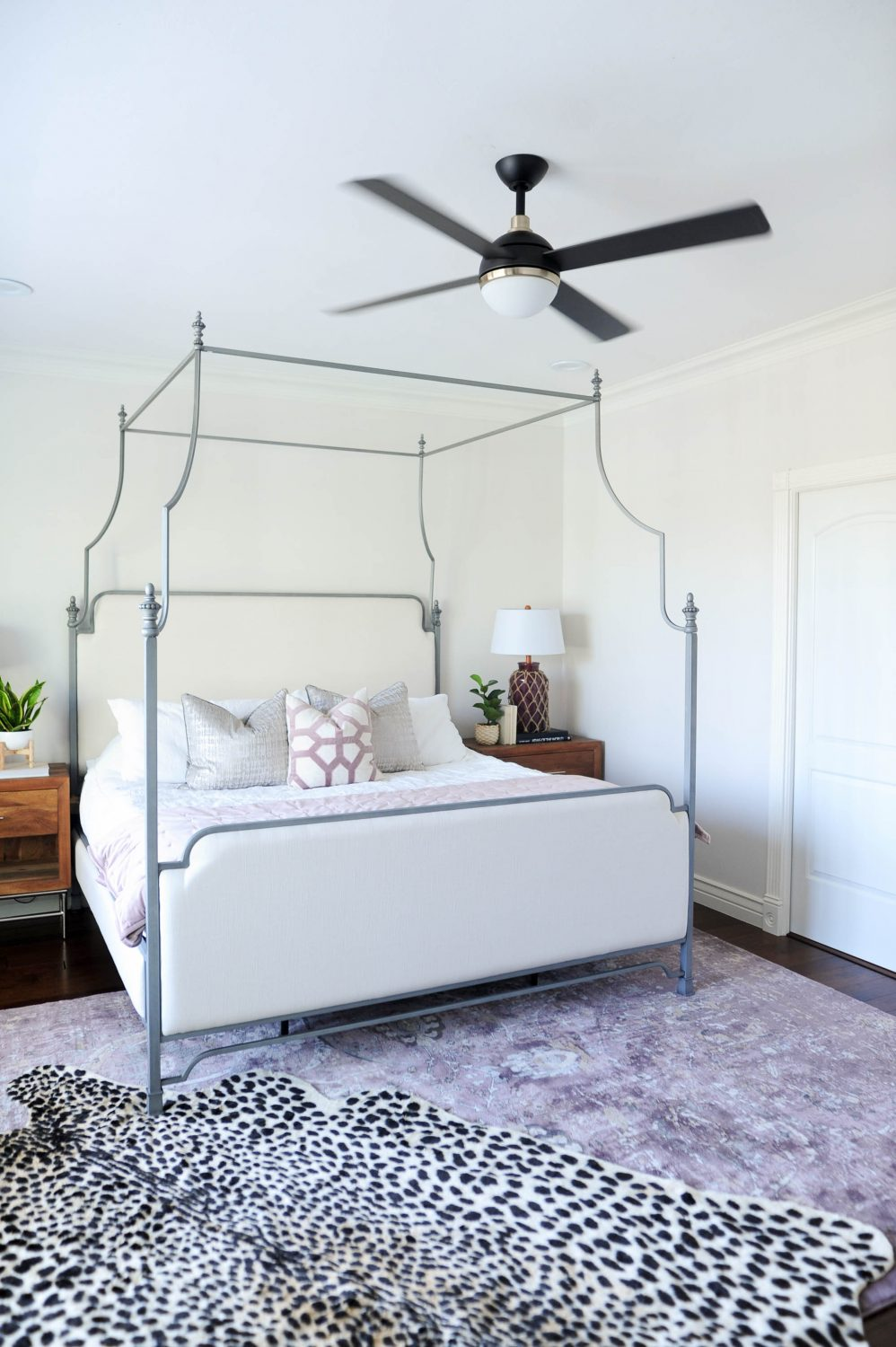 Modern Master Bedroom With Black Purple And Leopard Accents Reveal All Things Thrifty